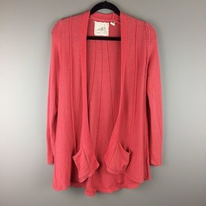 Angel of the North coral pink open front cardigan